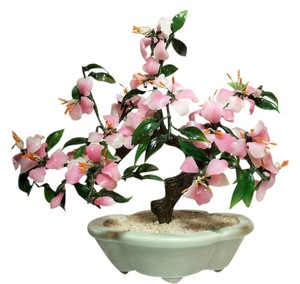 Other Faux Jade Bonsai Tree; Flowering Azalea Tree; Glass [ Roxanne Anjou Closet ]
