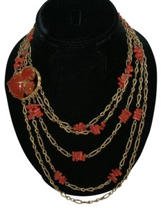 Vintage Branch Coral 5 Strand Festoon Runway Necklace Carnelian Clasp