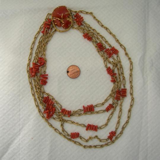 Other Vintage Branch Coral 5 Strand Festoon Runway Necklace Carnelian Clasp