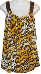 Anne Klein Beaded Jersey Top Yellow