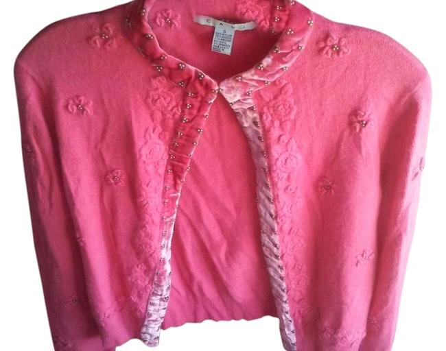 Item - Pink Embroidered Embellished Sweater Cardigan Size 6 (S)
