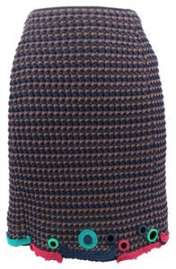 Prada Knit Multi Color Pencil Skirt Navy