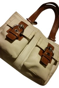 Coach Leather Two-tone Tote in off white/brown