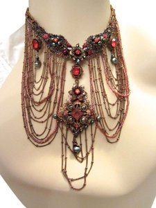 Satellite Paris Satellite Paris Nuit Blanche Floral Red Statement Necklace Signed Beaded --Mint!
