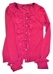 Twelve by Twelve Pink Buttons Ruffles Unique Girly Sweater