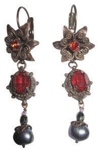 Satellite Paris Satellite Paris Nuit Blanche Earrings Red Crystal Gray Pearl Signed