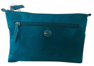 Coach COACH Blue Nylon Cosmetic Makeup Pouch Case Bag large