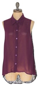 Velvet Heart High Low Black Sheer Top BURGUNDY BLACK