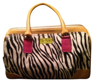 Monica Hermosa Leather Yellow Satchel in Mustard And Zebra Print