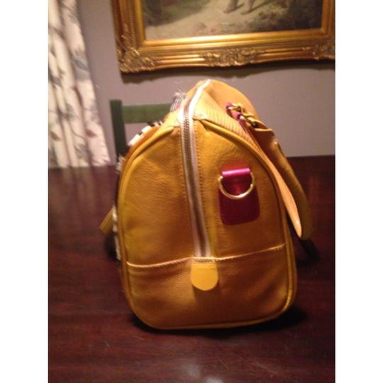 Monica Hermosa Leather Yellow Tote Satchel in Mustard And Zebra Print
