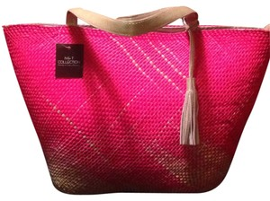 N & T Collection Tote Bohemian Boho Resort Fushia/pink Beach Bag