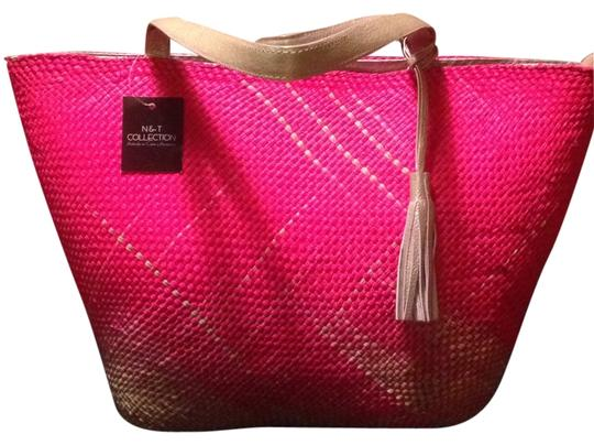 Preload https://item4.tradesy.com/images/hand-tote-fushiapink-natural-woven-fiber-and-leather-trim-beach-bag-5210368-0-0.jpg?width=440&height=440