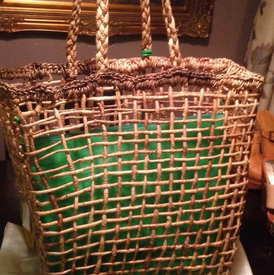 N & T Collection Woven Natural Bohemian Resort Tote Brown And Green Beach Bag