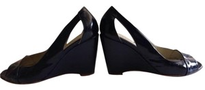 Barneys New York Patent Leather Sandal Italian Peep Toe Navy Blue Pumps