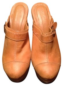 Monica Hermosa Leather Mule Wood Boho Tan Mules