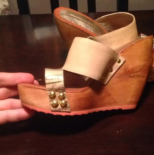 Monica Hermosa Hardware Studded Platform Tan/gold Wedges