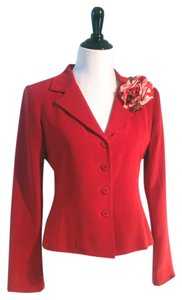 Neiman Marcus 100% Silk With Its Own Brooch. Red Blazer