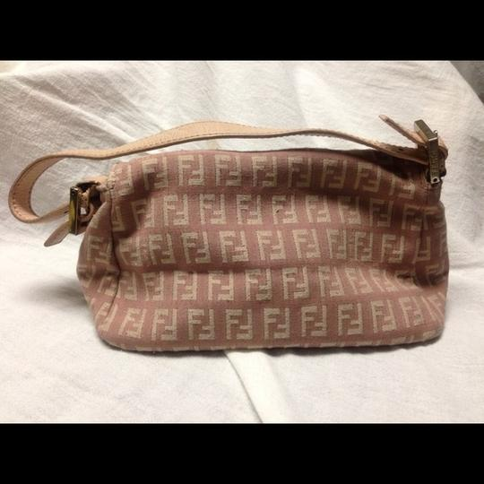 Fendi Monogram Zucca Baguette Purse Tote Canvas Pink Clutch
