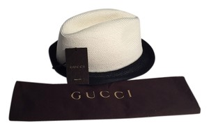 Gucci Gucci Two Tone Black Natural Straw Fedora Hat