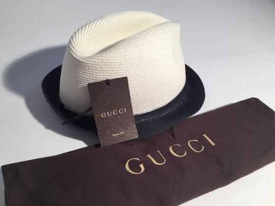 Gucci Gucci Two Tone Black Natural Straw Fedora Hat Image 1