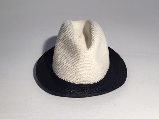 Gucci Gucci Two Tone Black Natural Straw Fedora Hat Image 2