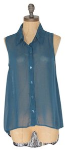 Velvet Heart High Low Sheer Lace Button Down Shirt BLUE