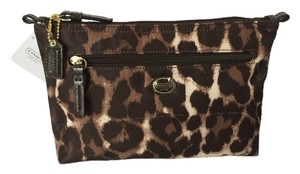 Coach COACH Animal Ocelot Print Nylon Cosmetic Makeup Travel Pouch Case