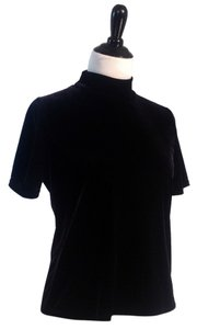 Harvé Benard 100% Velvet Short Sleeved Mock Turtleneck Top Black Velvet
