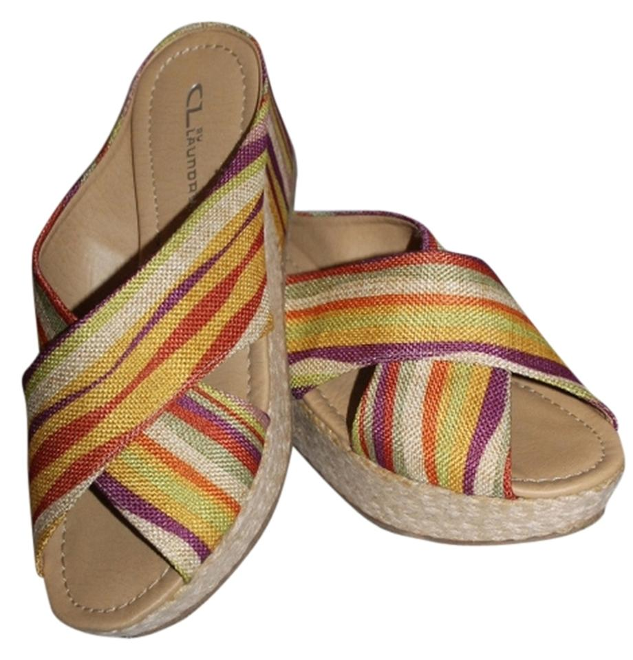 CL by by CL Laundry Striped New Mules/Slides 215fe5