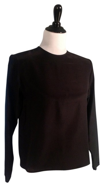 Hana Sung Silk Buttoned Sleeves Button Neck Line Top Black