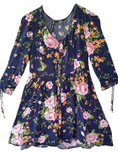 Feathers short dress Navy blue with pink and orange flower print on Tradesy