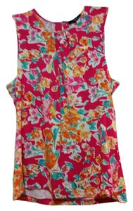 Chaps Top Multiple Colored Floral Pattern
