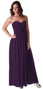 Purple Chiffon Strapless Sweetheart Long Feminine Bridesmaid/Mob Dress Size 12 (L)