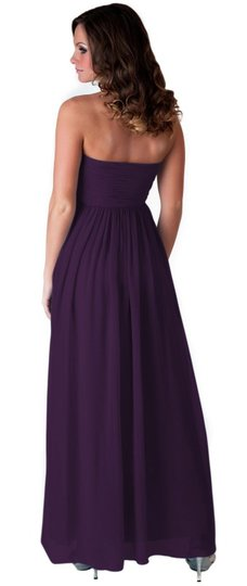 Purple Chiffon Strapless Sweetheart Long Feminine Dress Size 12 (L)