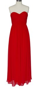 Red Chiffon Strapless Sweetheart Long Size:[6] Formal Bridesmaid/Mob Dress Size 6 (S)