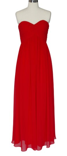 Red Chiffon Strapless Sweetheart Long Feminine Bridesmaid/Mob Dress Size 14 (L)