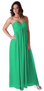 Green Chiffon Strapless Sweetheart Long Formal Bridesmaid/Mob Dress Size 10 (M)