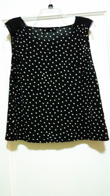 Elle Top Black with White Polka Dots