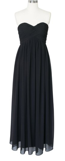 Black Chiffon Strapless Sweetheart Long Sexy Bridesmaid/Mob Dress Size 2 (XS)