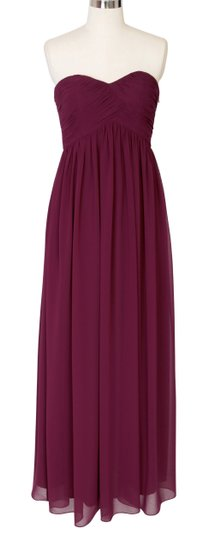 Red Chiffon Burgundy Strapless Sweetheart Long Formal Bridesmaid/Mob Dress Size 6 (S)