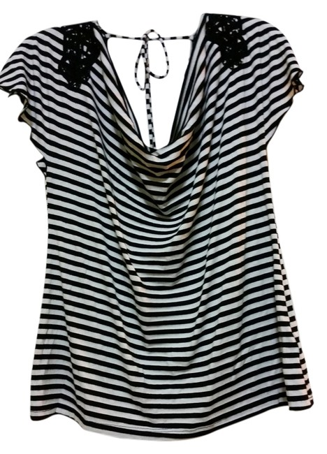 A. Byer T Shirt Black and White Striped