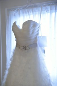 Lazaro Freshwater Pearl Crystal Beading Silk Sash Wedding Dress