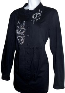Susan Graver Button Down Shirt Black