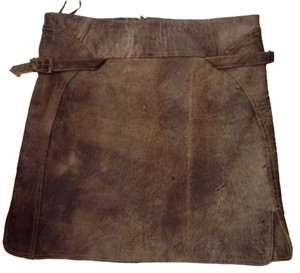 Gianfranco Ferre Distressed Leather Mini Buckle Mini Skirt distressed brown