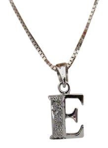 Other 18K Solid White Gold Diamond Initial E Pendant