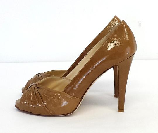 Butter Patent Leather Peep Toe Heels Pumps