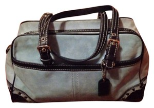 Coach Satchel in Light Blue/ Black