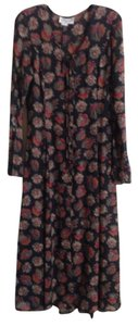 Black Maxi Dress by Mevisto Floral Longsleeve Autumn Rayon Full Length