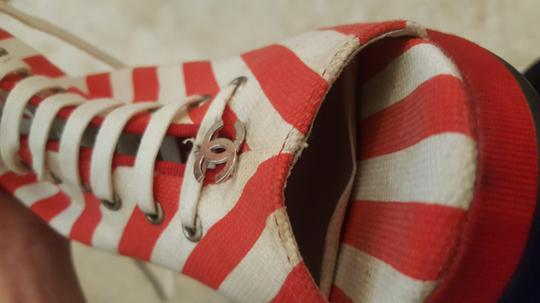 Chanel Red & White Stripe Boots