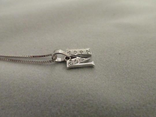 Other 18k Solid White Gold Diamond Initial M Pendant